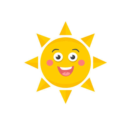 baby face: Cute sun. Vector illustration of funny sky object.