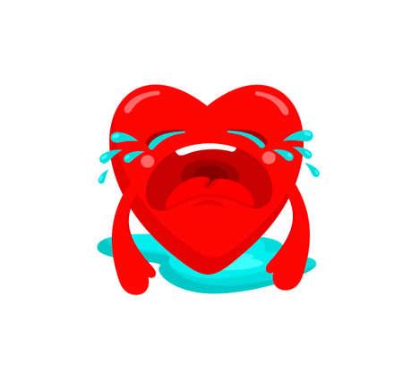 Heart in tears. Vector illustration of romantic sign. Illustration