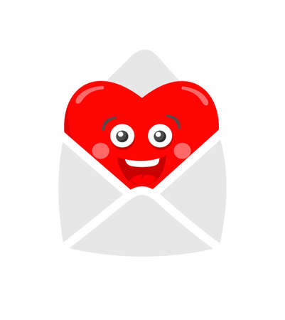 freaky: Romantic illustration of the envelope and heart in it.