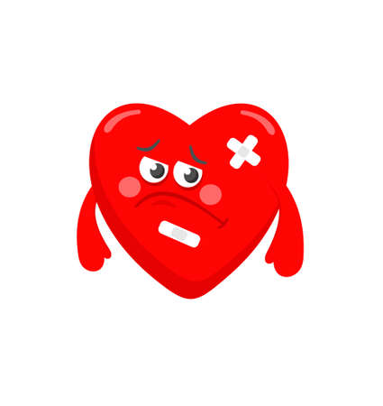 heart doctor: Vector illustration of sad heart with health problems.