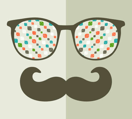 retro glasses: Retro sunglasses with reflection for hipster. Vector illustration of accessory - glasses isolated. Best print for your t-shirt. Illustration