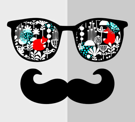 sunglasses: Retro sunglasses with reflection for hipster. Vector illustration of accessory - glasses isolated. Best print for your t-shirt. Illustration