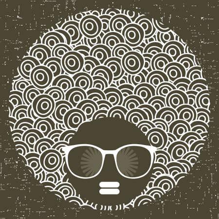 Tête noire femme avec motif étrange sur ses cheveux. Vector illustration.