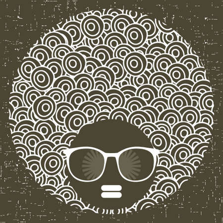 Zwarte hoofdvrouw met vreemd patroon op haar haar. Vector illustratie.