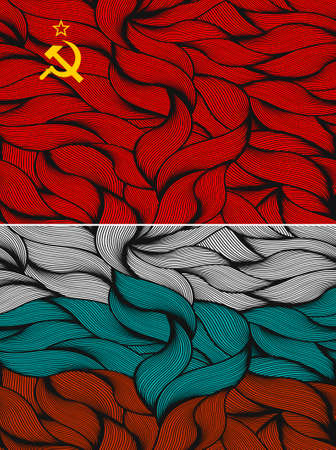 ussr: Set of two flags. Vector illustration of the USSR and Russia.