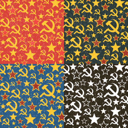 soviet union: Set of Soviet Union seamless patterns. Colorful background in vector.
