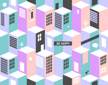 monsters house: Modern seamless pattern with city buildings. Vector cityscape.