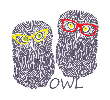 two animals: Two wise owls. Vector illustration of hipster animals.