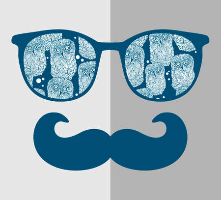 eye glasses: Retro sunglasses with reflection for hipster. Vector illustration of accessory - glasses isolated. Best print for your t-shirt. Illustration