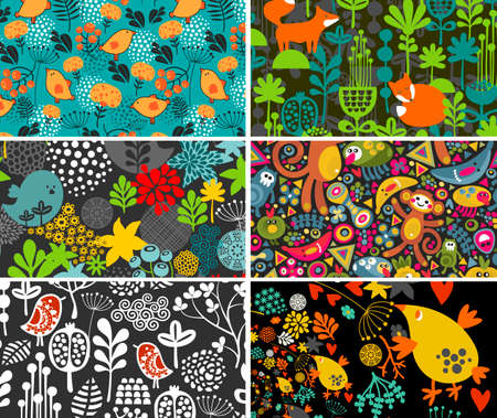 fall images: Set of cards with birds, animals and flowers. Vector illustration.