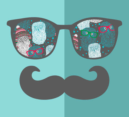cool guy: Retro sunglasses with reflection for hipster. Vector illustration of accessory - glasses isolated. Best print for your t-shirt. Illustration
