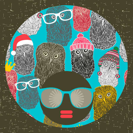 strange: Black head woman with strange pattern on her hair. Vector illustration.