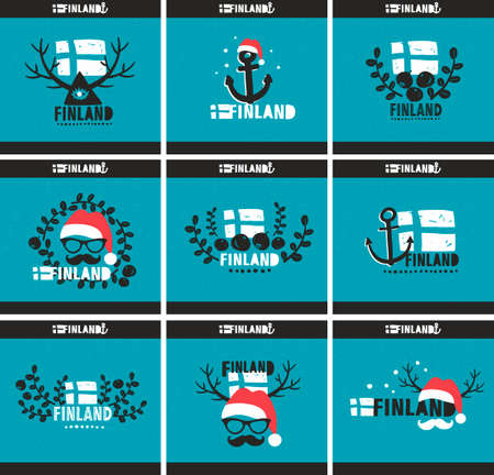 whortleberry: Set of creative labels devouted yo Finland. Nine illustrations in vintage style. Vector design.