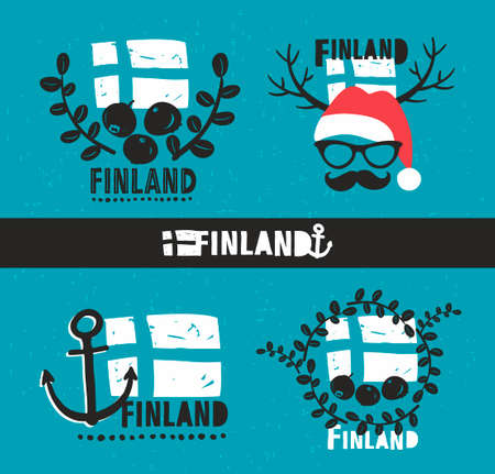cowberry: Set of labels. Vector illustration of symbols of Finland.