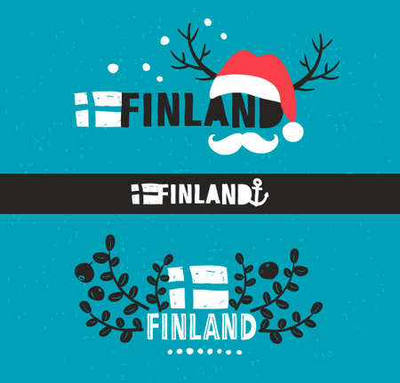 suomi: Set of labels. Vector illustration of symbols of Finland.