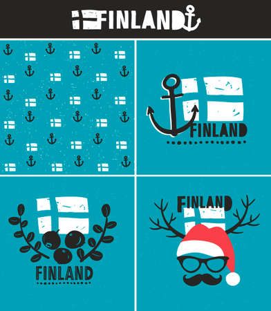 santa moose: Set of labels. Vector illustration of symbols of Finland.
