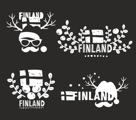 whortleberry: Set of vector labels of Finland. Vector illustrations.
