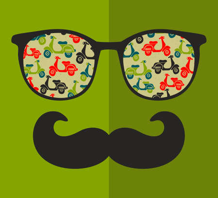 mustaches: Abstract portrait of man in sunglasses and with moustache. Vintage print in vector. Illustration