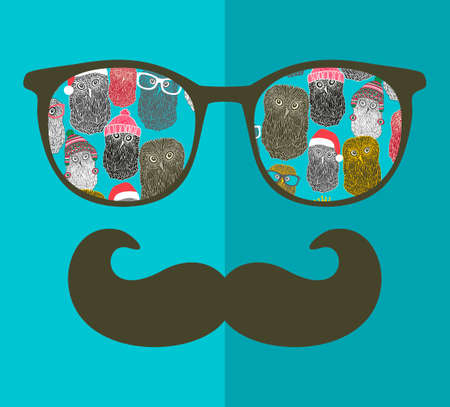 glasses eye: Abstract portrait of man in sunglasses and with moustache. Vintage print in vector. Illustration