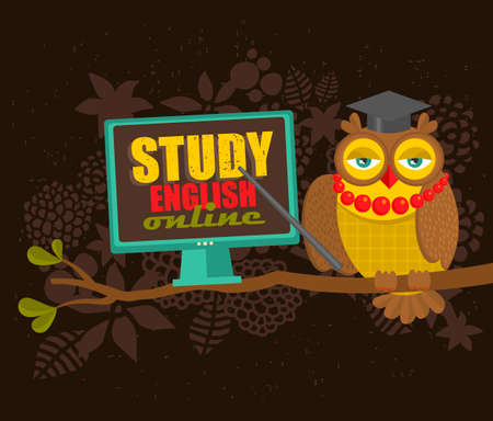 Learn english concept. Clever owl on the tree as a teacher.Vector illustration.
