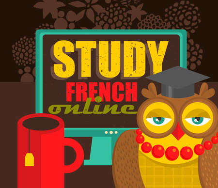 learning language: Study French advertisement. Vector illustration of on-line education. Illustration