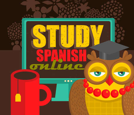 recommending: Teacher owl recommending course of Spanish language on-line.Vector illustration.