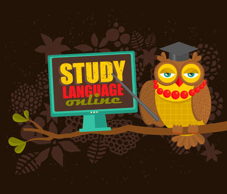 e learn: Owl on the tree with computer promoting on-line education. Vector illustration. Illustration