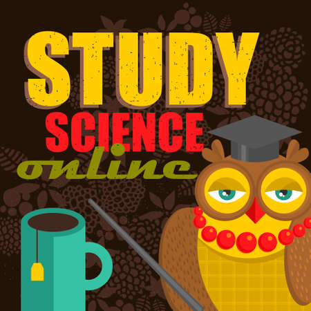 via: Owl teaching science via internet. Vector illustration. Illustration