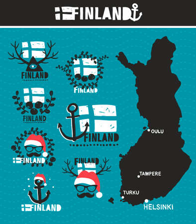 northern: Finnish map and labels. Vector set of illustrations.