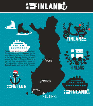 finland: Finland. Set of vector labels with the map of the country. Illustration
