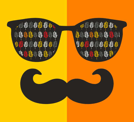 abstract portrait: Abstract portrait of retro man in sunglasses with moustache. Vintage print in vector.
