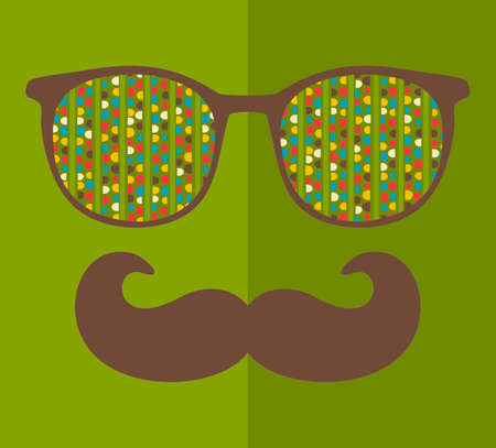 Abstract portrait of retro man in sunglasses with moustache. Vintage print in vector.