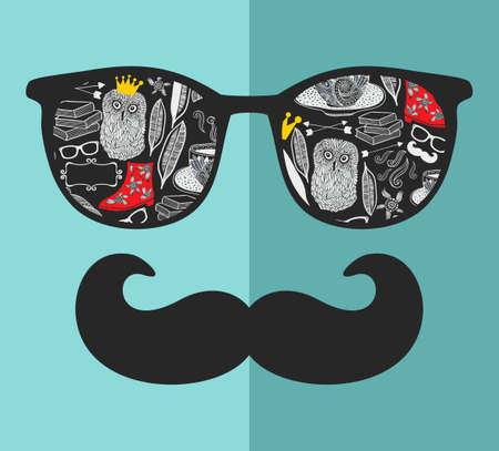 night vision: Abstract portrait of retro man in sunglasses with moustache. Vintage print in vector.