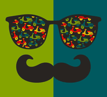 old man portrait: Abstract portrait of retro man in sunglasses with moustache. Vintage print in vector.