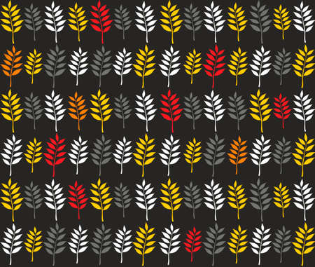 repeated: Seamless pattern with autumn leaves in line. Vector repeated background.