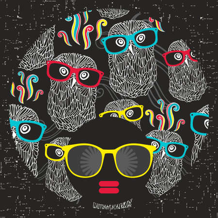 sunglasses: Black womans head with afro hair style. Vector illustration. Illustration