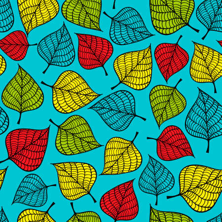 elements of nature: Colorful seamless pattern with leaves on blue background. Hand drawn repeated texture with nature elements.