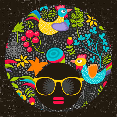 Black head woman with cool pattern on her hair. Vector illustration.