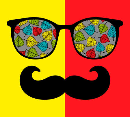 fashionable: Abstract portrait of man in sunglasses with moustache. Vintage print in vector. Illustration