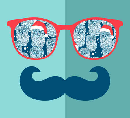 glasses eye: Abstract portrait of man in sunglasses with moustache. Vintage print in vector. Illustration