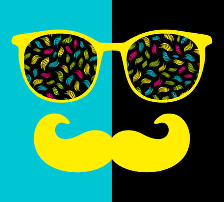 abstract portrait: Abstract portrait of man in sunglasses with moustache. Vintage print in vector. Illustration