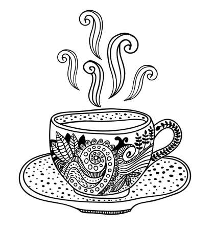 tea cup: Black and white up with floral design elements. Vector illustration for coloring. Illustration
