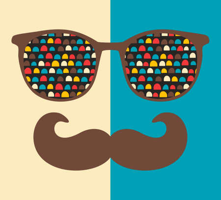 Abstract portrait of man in sunglasses with moustache. Vintage print in vector. Illustration
