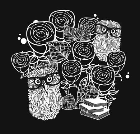 smart card: Smart owls in roses. Black and white illustration. Cool and creative print for the card cover, t-shirt.