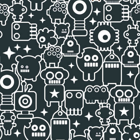 pattern monster: Black and white seamless background with monsters from the space. pattern of little robots, cute and friendly.