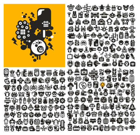 web robot: Great set of robot faces. collection of black and white cute monsters. Illustration