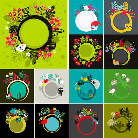 flora fauna: Set of round banners with floral background. Vector illustrations with animals, insects and birds.