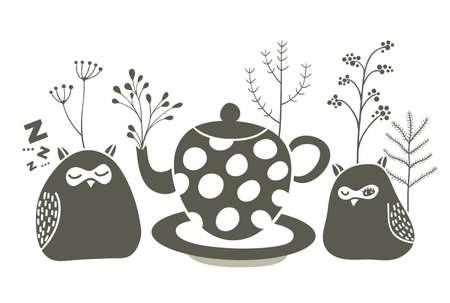 Owls ant the tea. Vector illustration of birds and tea pot.
