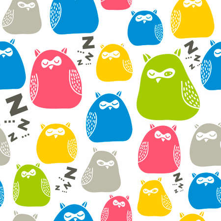 foe: Seamless colorful pattern with cute sleeping owls. Vector repeated background foe children print. Illustration