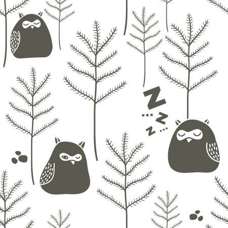 white winter: Sleeping birds in winter forest. Seamless pattern with funny little owls on the snow. Vector background. Illustration